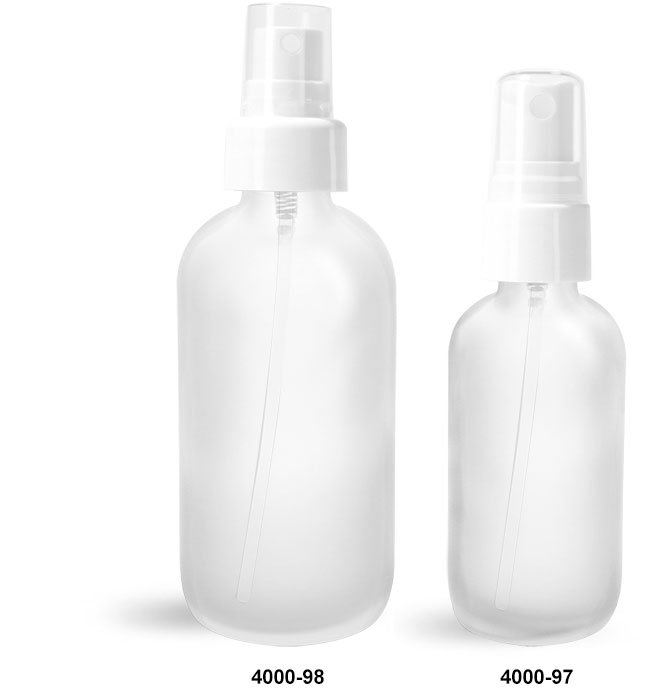 Glass Bottles, Frosted Glass Boston Rounds w/ White Smooth Fine Mist Sprayers