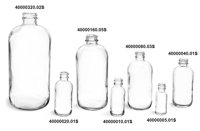 Glass Bottles, Clear Glass Rounds (Bulk)