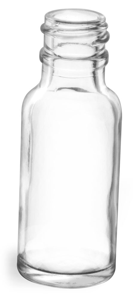 1/2 oz Clear Glass Round Bottles (Bulk), Caps NOT Included