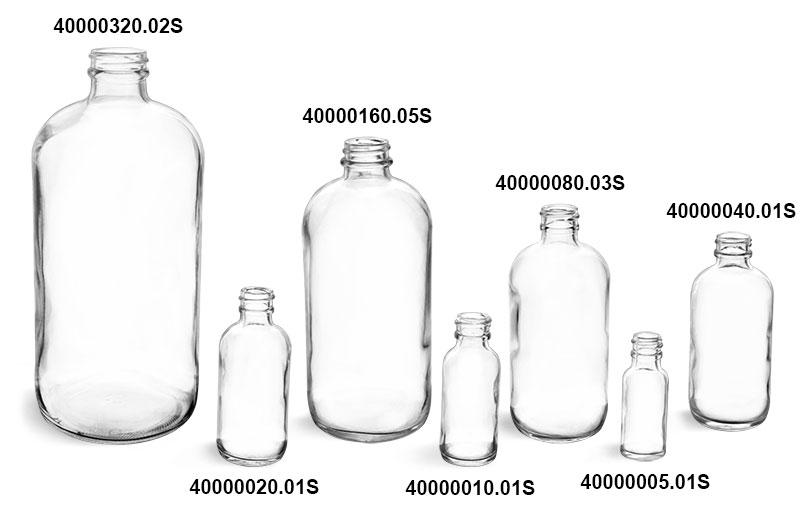 Glass Bottles, Clear Glass Rounds (Bulk)