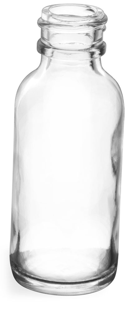 1 oz Clear Glass Round Bottles (Bulk), Caps NOT Included