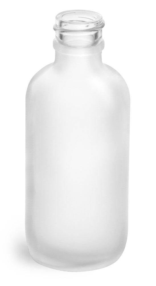 2 oz       Frosted Glass Round Bottles (Bulk), Caps NOT Included
