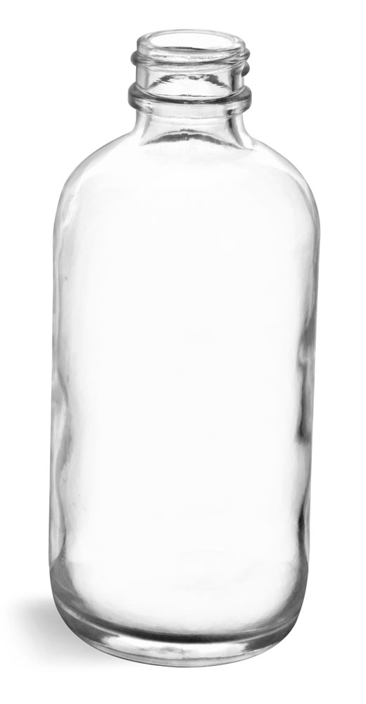 4 oz Clear Glass Round Bottles (Bulk), Caps NOT Included
