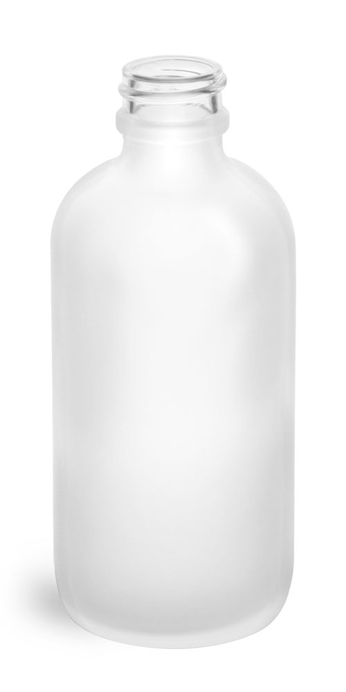 4 oz Frosted Glass Round Bottles (Bulk), Caps NOT Included