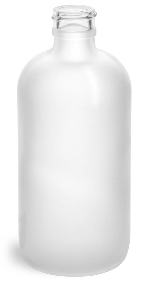 8 oz       Frosted Glass Round Bottles (Bulk), Caps NOT Included
