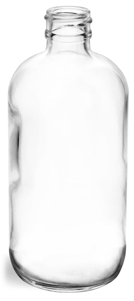 8 oz Clear Glass Round Bottles (Bulk), Caps NOT Included