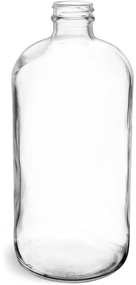 32 oz Clear Glass Round Bottles (Bulk), Caps NOT Included