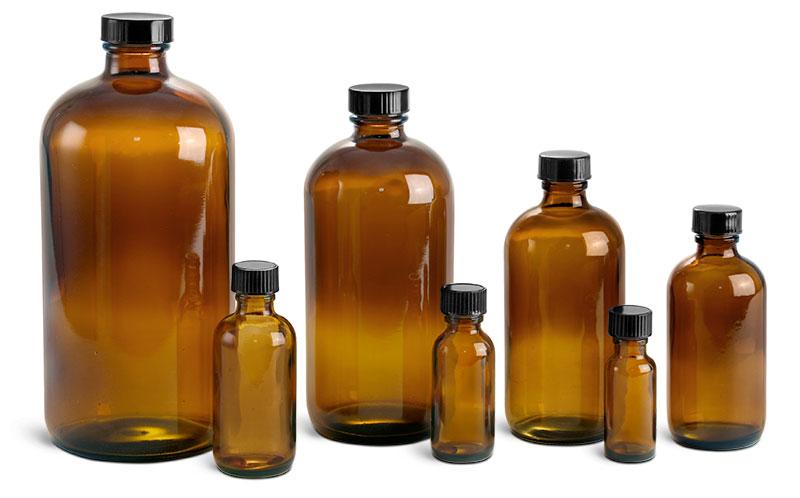 Amber Glass Bottles, Boston Round Bottles w/ Black Cone Lined Caps