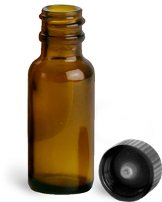 Amber Glass Round Bottles w/ Black Cone Lined Caps