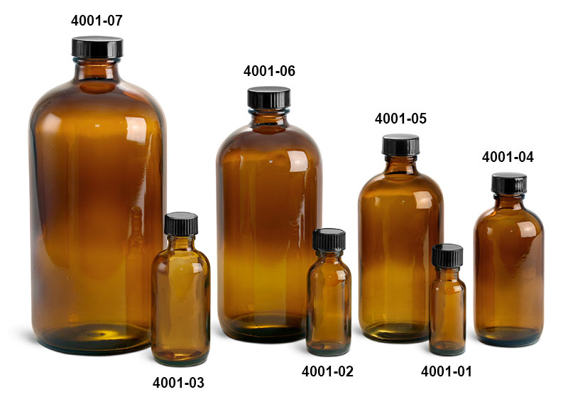 Glass Bottles, Amber Glass Boston Round Bottles w/ Black Cone Lined Caps