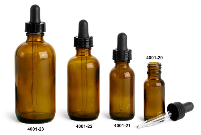 Glass Bottles, Amber Glass Boston Round Bottles w/ Black Bulb Glass Droppers