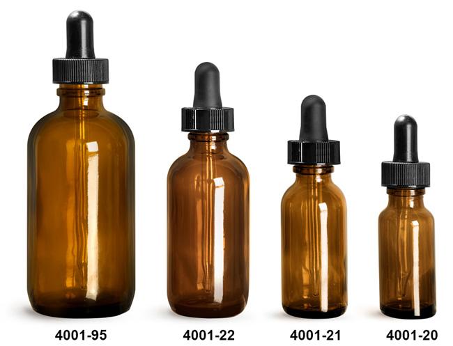 Glass Bottles, Amber Glass Boston Round Bottles w/ Black Bulb Glass Droppers