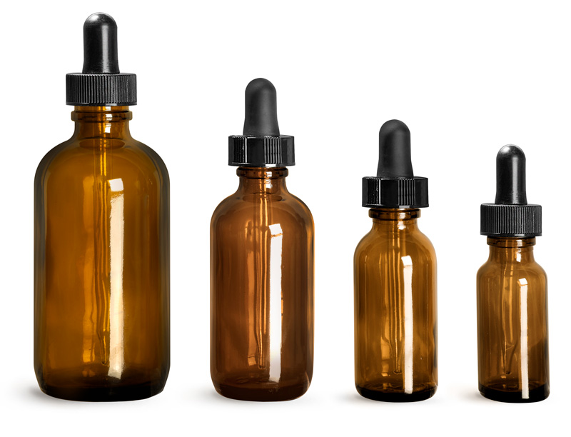 Amber Glass Bottles, Boston Round Bottles w/ Black Bulb Glass Droppers