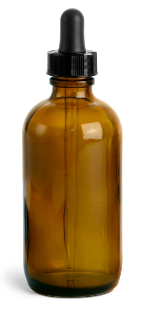 4 oz       Amber Glass Round Bottles w/ Black Bulb Glass Droppers
