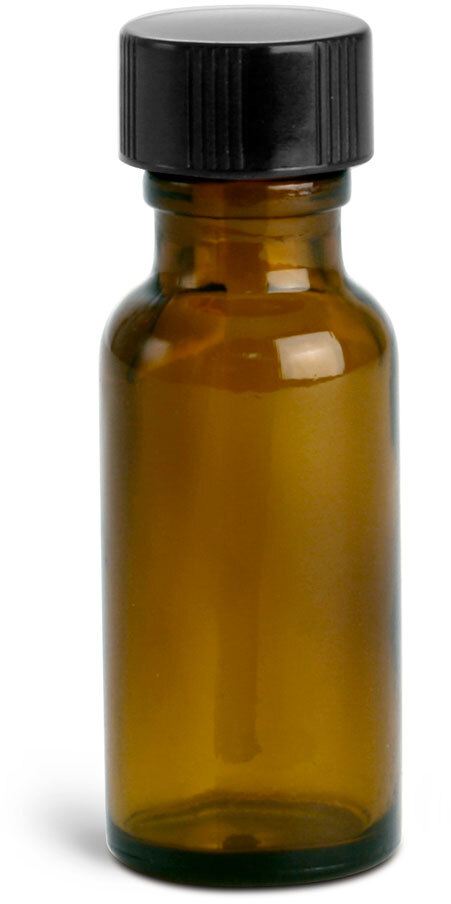 Amber Glass Round Bottles w/ PE Ball Rod Caps