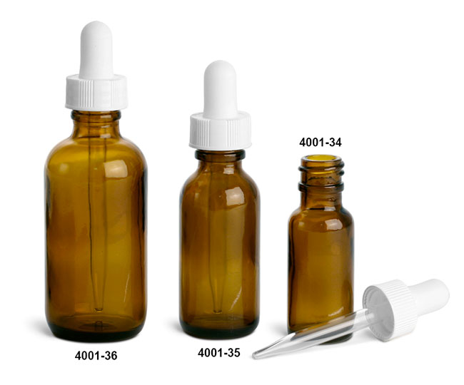Amber Glass Bottles, Boston Round Bottles w/ White Bulb Glass Droppers