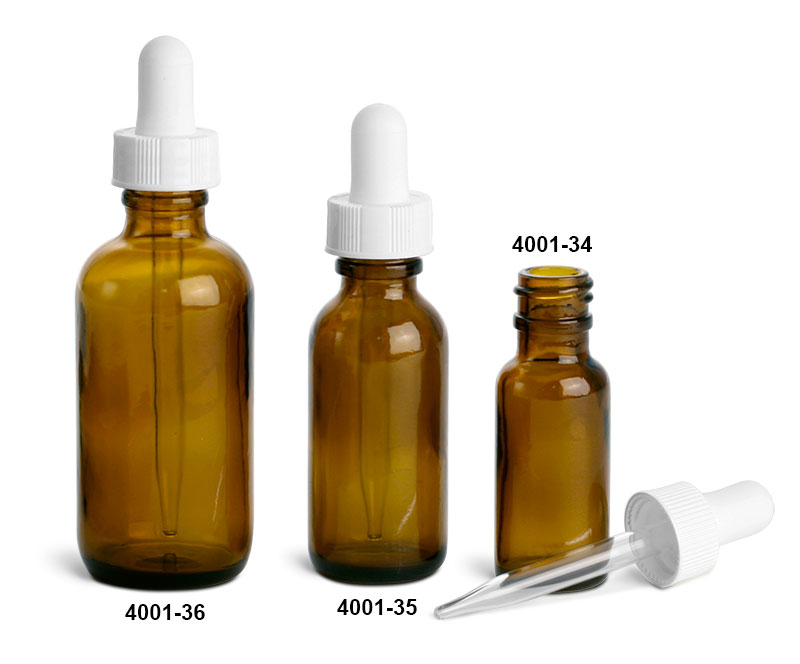 Glass Bottles, Amber Glass Boston Round Bottles w/ White Bulb Glass Droppers