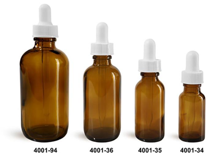 Glass Bottles, Amber Glass Boston Round Bottles w/ White Bulb Glass Droppers