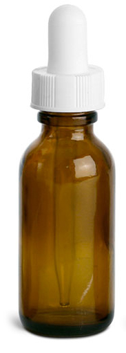 1 oz     Amber Glass Round Bottles w/ White Bulb Glass Droppers