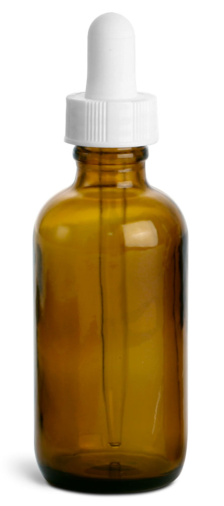 Amber Glass Round Bottles w/ White Bulb Glass Droppers