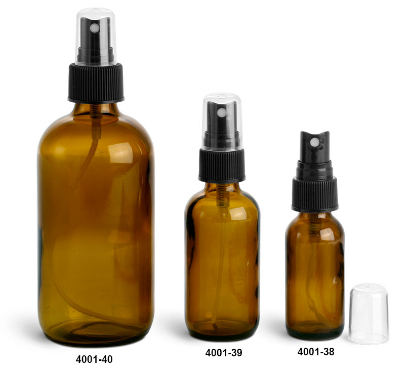 Glass Bottles, Amber Glass Boston Round Bottles w/ Black Ribbed Fine Mist Sprayers
