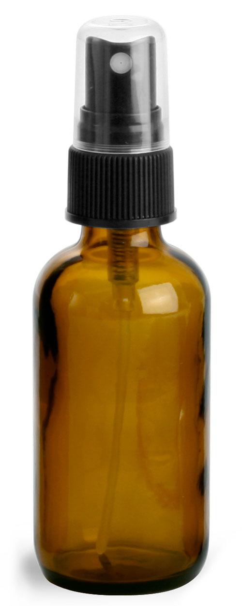 Amber Glass Round Bottles w/ Black Fine Mist Sprayers