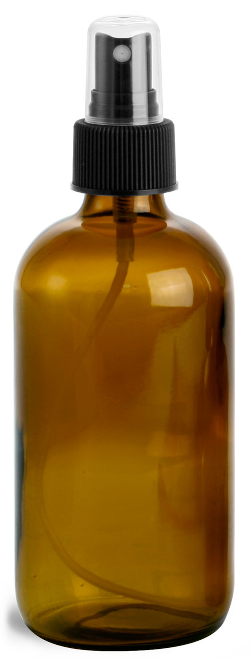 8 oz        Amber Glass Round Bottles w/ Black Fine Mist Sprayers