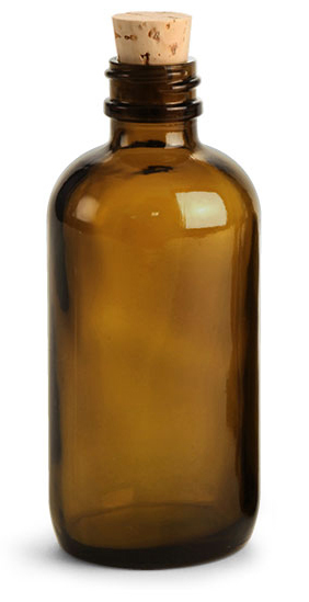 Amber Glass Bottles, Boston Round Bottles w/ Cork Stoppers