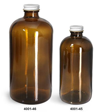 Glass Bottles, Amber Glass Boston Round Bottles w/ White Metal Plastisol Lined Caps