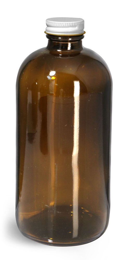 16 oz Glass Bottles, Amber Glass Round Bottles w/ White Metal Plastisol Lined Caps