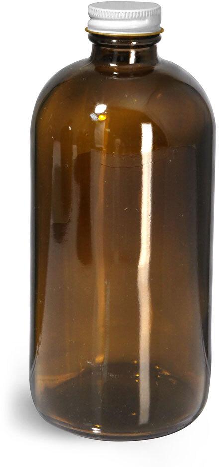 Glass Bottles, Amber Glass Round Bottles w/ White Metal Plastisol Lined Caps