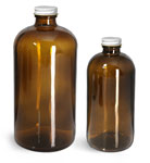 Amber Glass Bottles, Boston Round Bottles w/ White Metal Plastisol Lined Caps