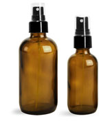 Amber Glass Bottles, Boston Round Bottles w/ Smooth Black Fine Mist Sprayers