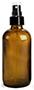4 oz4 oz Glass Bottles, Amber Glass Boston Rounds w/ Smooth Black Fine Mist Sprayers