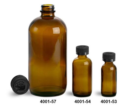 Glass Bottles, Amber Glass Boston Round Bottles w/ Black Child Resistant Lined Caps