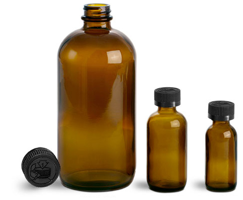 Amber Glass Bottles, Boston Round Bottles w/ Black Child Resistant Lined Caps