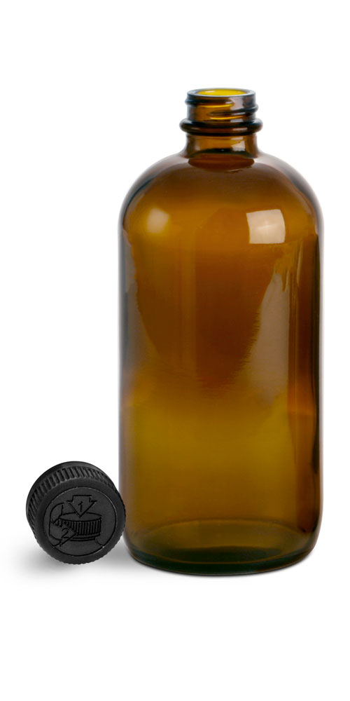 16 oz Glass Bottles, Amber Glass Boston Rounds w/ Black Child Resistant Lined Caps