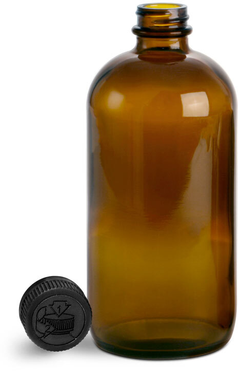 Glass Bottles, Amber Glass Boston Rounds w/ Black Child Resistant Lined Caps