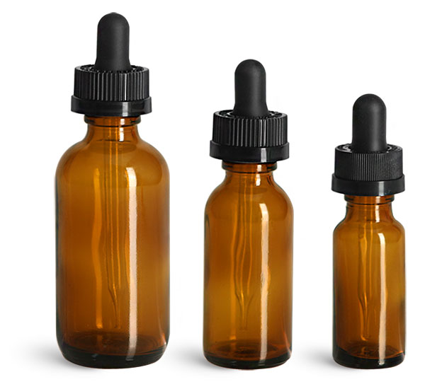 Amber Glass Bottles, Boston Round Bottles w/ Child Resistant Glass Droppers