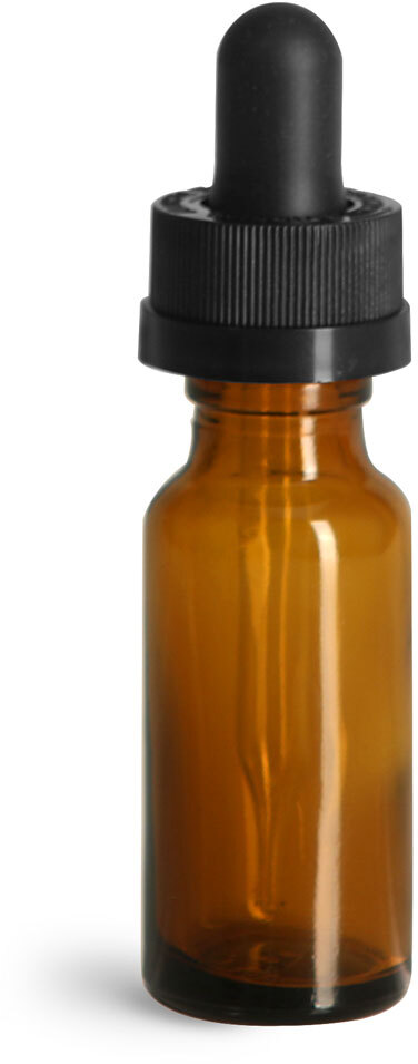 Glass Bottles, Amber Glass Boston Rounds w/ Child Resistant Glass Droppers