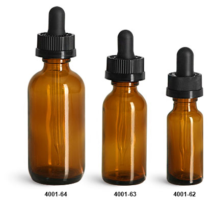 Glass Bottles, Amber Glass Boston Round Bottles w/ Child Resistant Glass Droppers