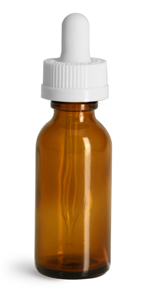 1 oz Glass Bottles, Amber Glass Boston Rounds w/ White Child Resistant Glass Droppers