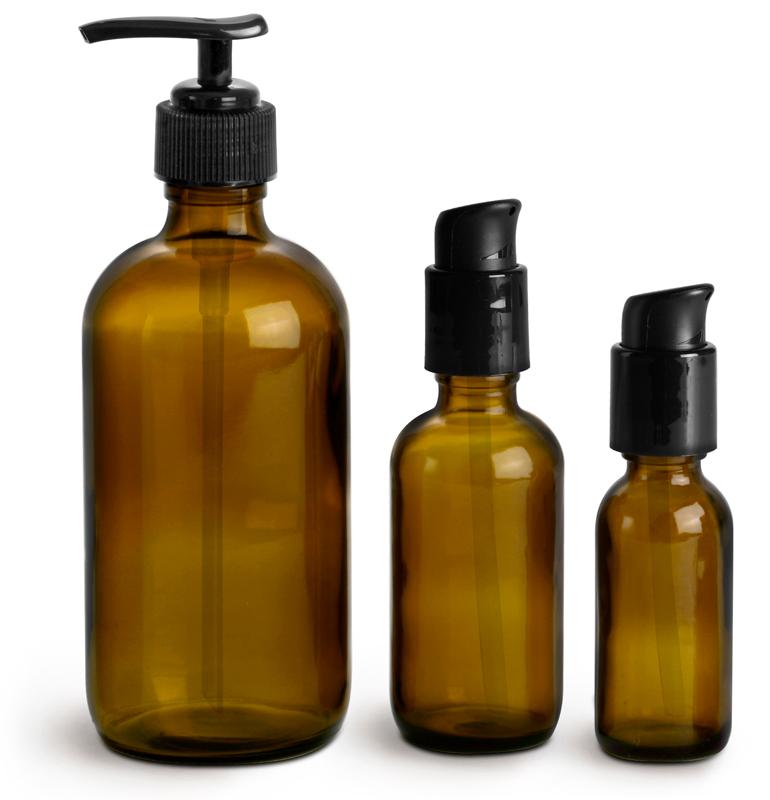 Amber Glass Bottles, Boston Round Bottles w/ Black Pumps