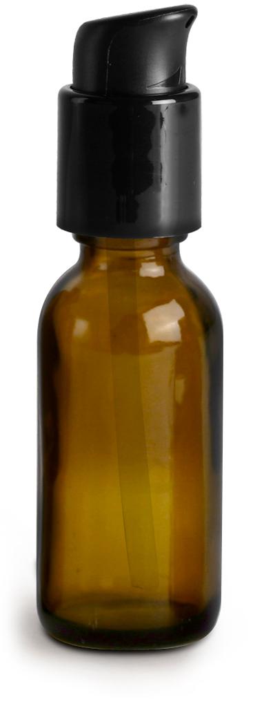 1 oz  Amber Glass Boston Round Bottles w/ Black Treatment Pumps