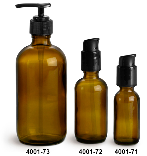 Glass Bottles, Amber Glass Boston Round Bottles w/ Black Pumps