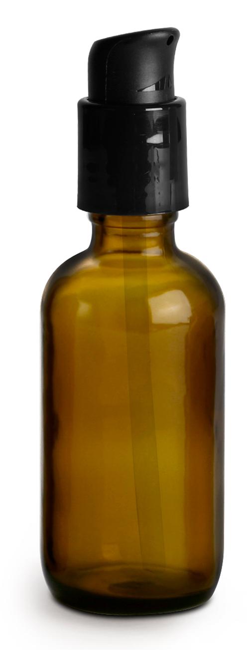 2 oz  Amber Glass Bottles, Boston Round Bottles w/ Black Treatment Pumps