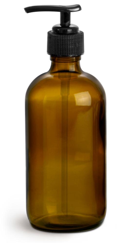 8 oz  Amber Glass Bottles, Boston Round Bottles w/ Black Lotion Pumps
