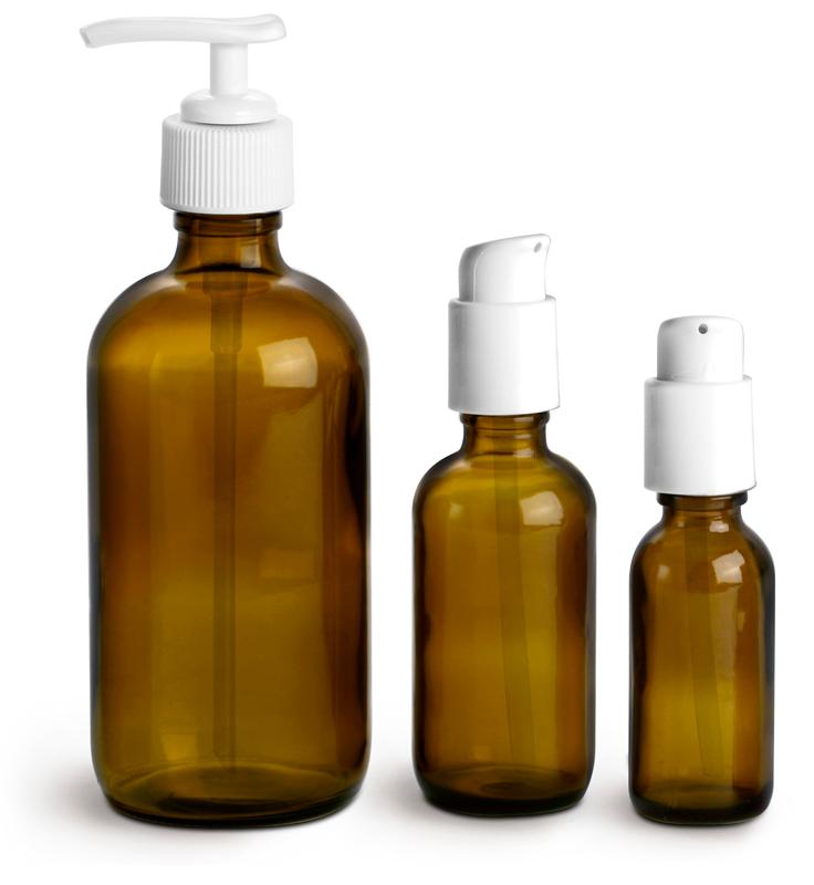 Amber Glass Boston Round Bottles w/ White Pumps