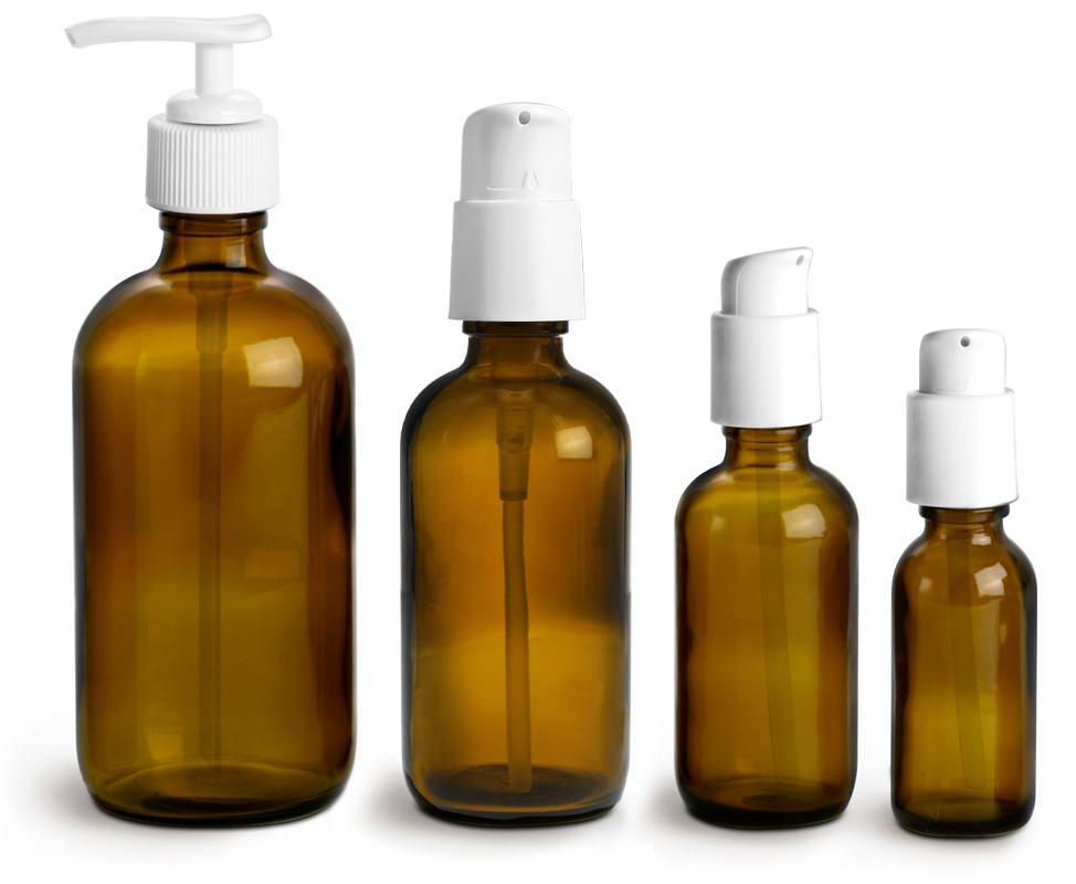 4 oz  Amber Glass Boston Round Bottles w/ White Treatment Pumps