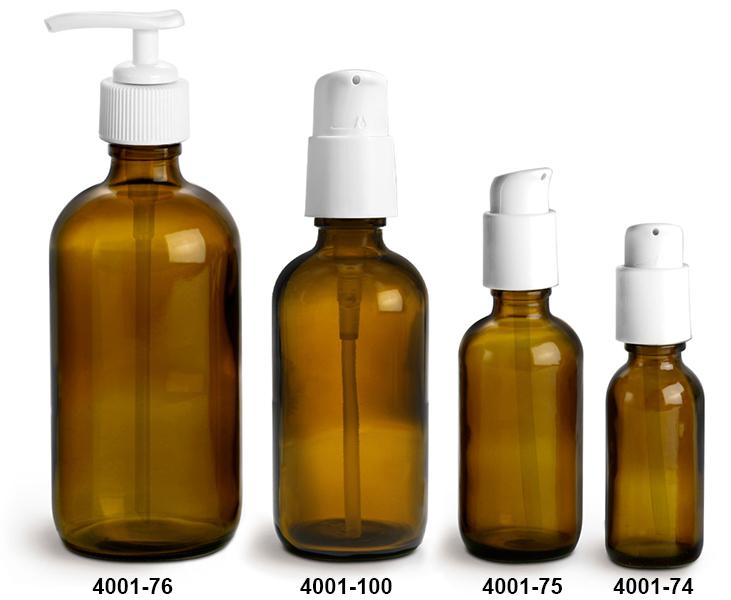 Glass Bottles, Amber Glass Boston Round Bottles w/ White Pumps